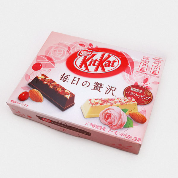 White Chocolate Moleson Kit Kat infused with rose and rich tea