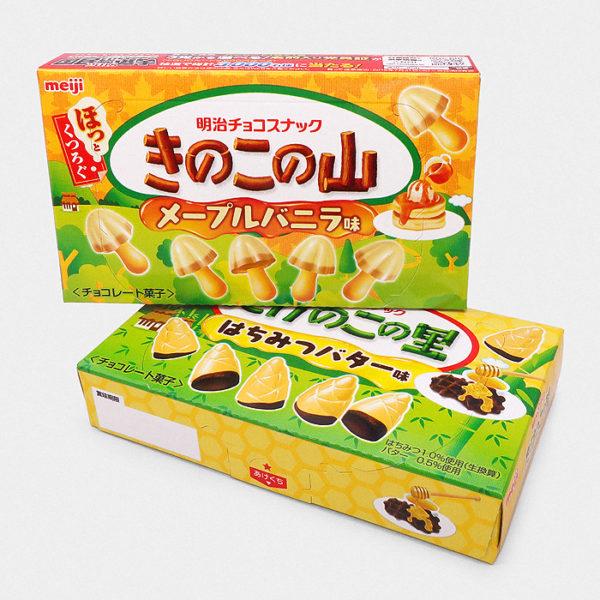 Takenoko No Sato Cookies - Honey Butter Chocolate Waffle and Kinoko No Yama Cookies – Maple Vanilla Pancake