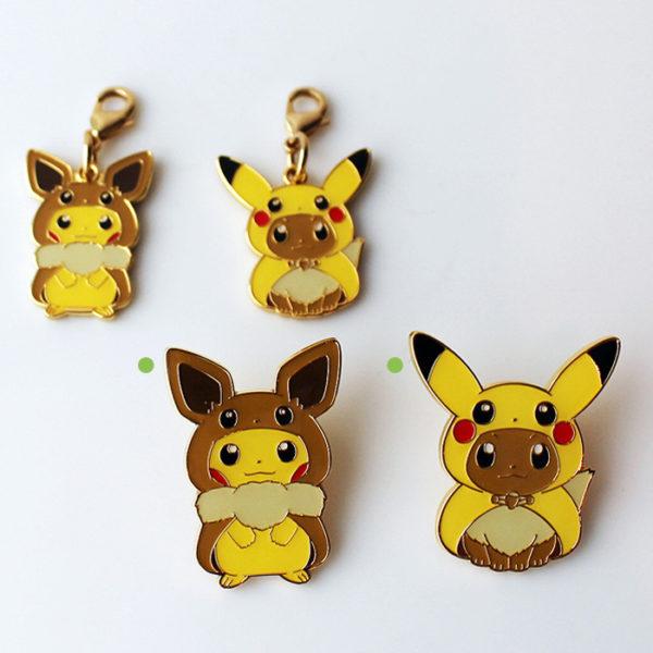 Pokémon Center Pikachu & Eevee Poncho Pin Set