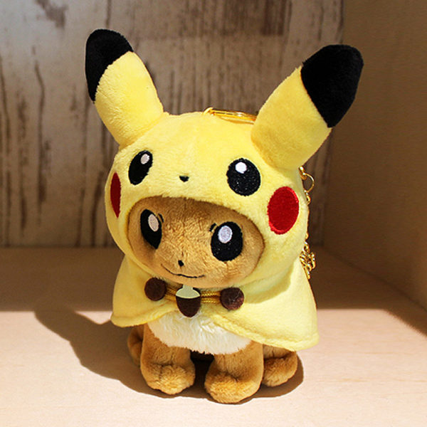 Pokémon Center Eevee With Pikachu Poncho Keychain Plush