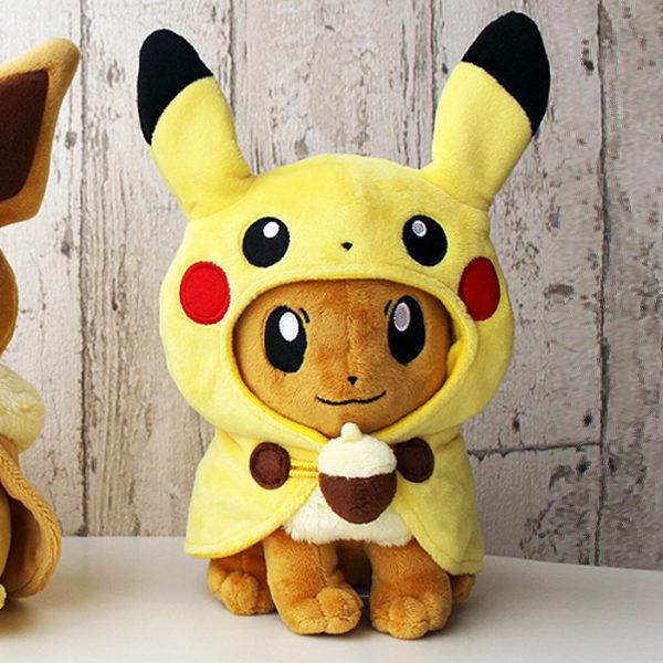 Pokémon Eevee With Pikachu Poncho Plush