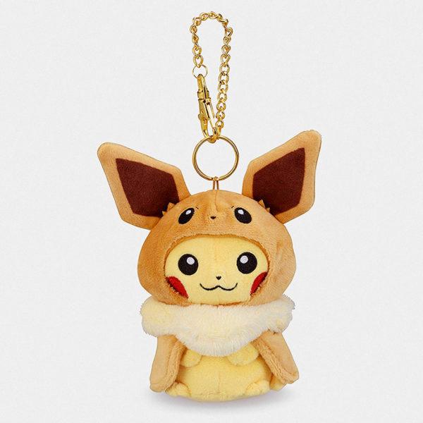 Pokémon Center Pikachu With Eevee Poncho Keychain Plush
