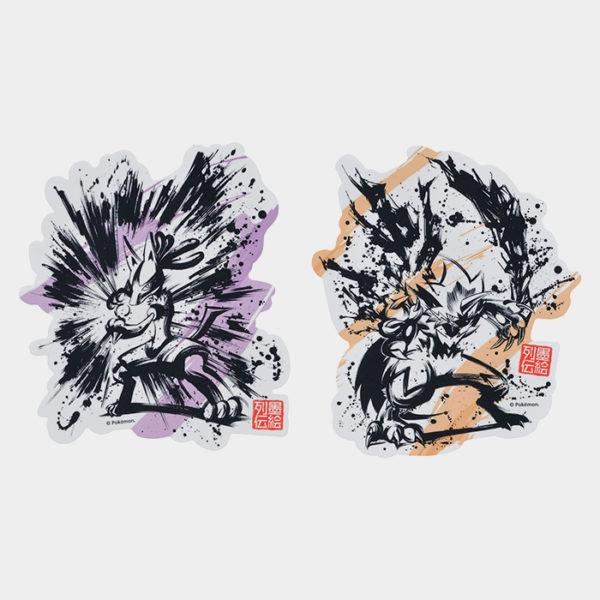 Pokémon Center Sumi-e Lucario & Zeraora Sticker Set