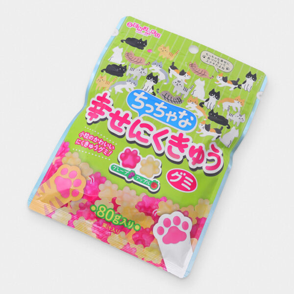 Japanese Happy Cat Paw Fruit Gummies - Grape & Apple